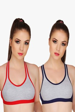 Urbaano Pippa Red & Navy Non Wired Sports Bra (Pack Of 2)