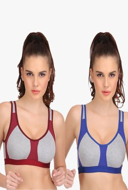 Urbaano Aero Multicolor Non Wired Sports Bra (Pack Of 2)