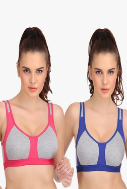 Urbaano Aero Pink & Blue Non Wired Sports Bra (Pack Of 2)