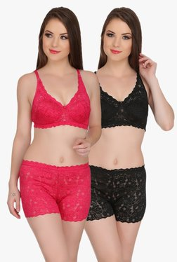 Aruba Eva Pink & Black Bra & Boy Shorts Set (Pack Of 2)