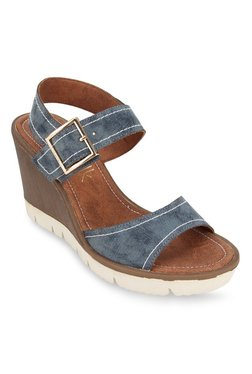 27f6a946aa3163 Catwalk Navy Blue Ankle Strap Wedges for women - Get stylish shoes ...