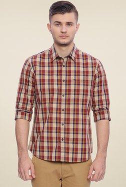 Basics Beige & Maroon Checks Cotton Shirt