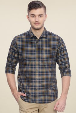 Basics Navy & Mustard Slim Fit Shirt