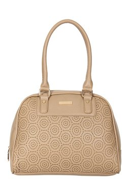 Addons Beige Cut Work Duffle Shoulder Bag