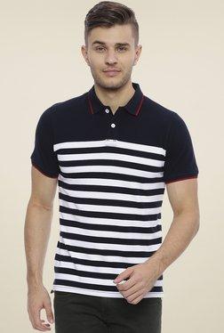Basics Navy & White Half Sleeves Polo T-Shirt