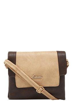 Esbeda Dark Brown & Beige Solid Flap Sling Bag