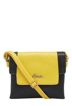 Esbeda Black & Yellow Solid Flap Sling Bag