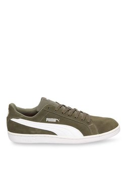 Puma Smash SD Olive & White Sneakers