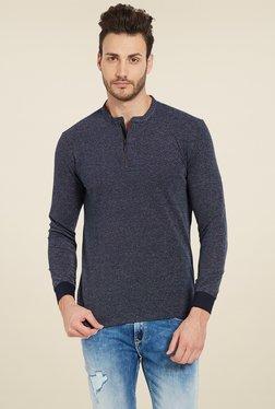 Spykar Navy Slim Fit Henley T-Shirt