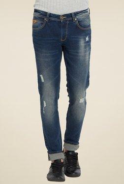 Spykar Dark Blue Skinny Fit Distressed Jeans