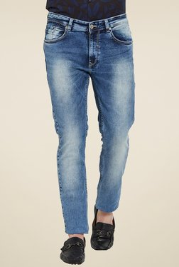 Spykar Blue Lightly Washed Slim Fit Low Rise Jeans