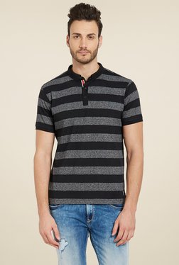 Spykar Black & Dark Grey Striped Polo T-Shirt