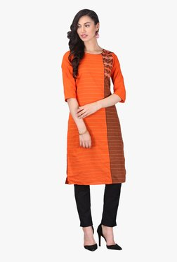 Aurelia Orange Striped Cotton Kurta