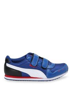Puma Cabana Racer V Jr DP True Blue & White Velcro Shoes