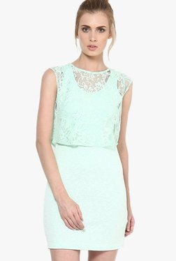 Only Sea Green Lace Above Knee Dress