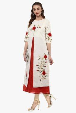 Juniper Off White Embroidered Cotton Silk Kurta