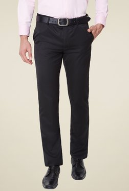 Van Heusen Black Solid Slim Fit Flat Front Trousers