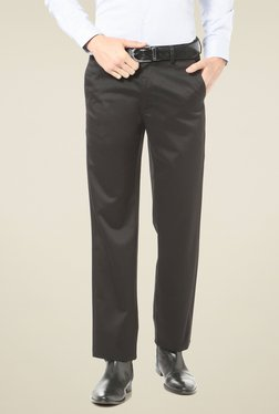 Allen Solly Black Regular Fit Flat Front Trousers