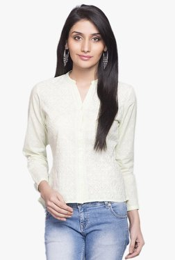 ffdd2625c Fabindia Green Embroidered Cotton Shirt