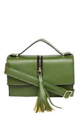 Toniq Perfect Pout Olive Green Tassel Flap Sling Bag