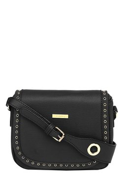 Toniq Stud On Edge Black Eyelet Flap Sling Bag