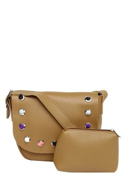 Toniq Dark Beige Gemfield Stud Flap Sling Bag With Pouch