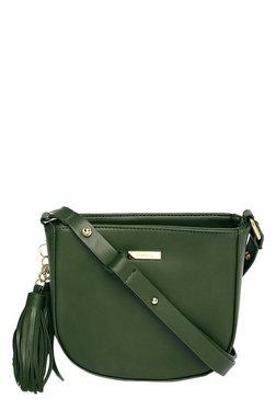 Toniq Fringy Green Solid Sling Bag