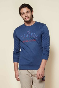 Zudio Indigo Melange Regular Fit Sweatshirt - Mp000000001922890
