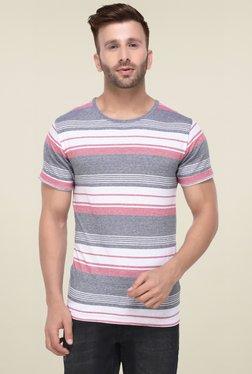Rigo Grey White & Grey Half Sleeves Cotton T-Shirt