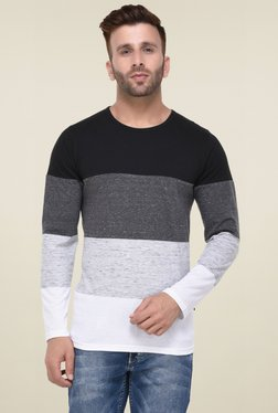 Rigo Black & White Full Sleeves Cotton T-Shirt