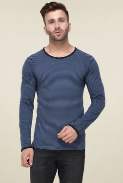 Rigo Blue & Black Round Neck Slim Fit T-Shirt