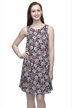 Oxolloxo Black Floral Print Above Knee Dress