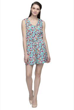 Oxolloxo Blue Floral Print Playsuit
