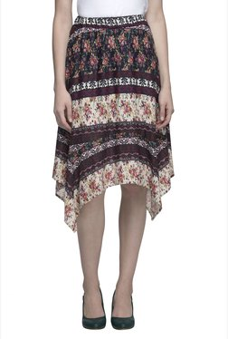 Oxolloxo Multicolor Floral Print Knee Length Skirt