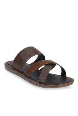 Bond Street By Red Tape Dark Brown & Tan Casual Sandals