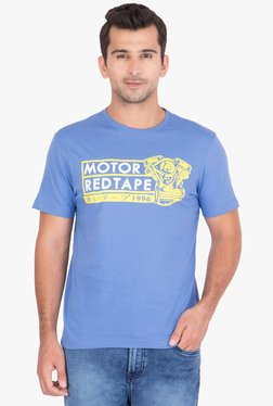 Red Tape Blue Regular Fit Printed T-Shirt