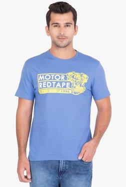 Red Tape Blue Regular Fit Printed T-Shirt