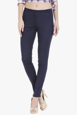Globus Navy Skinny Fit Flat Front Trousers