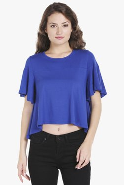 Globus Blue Short Sleeves Crop Top