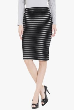 Globus Black Striped Knee Length Pencil Skirt