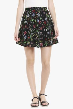Globus Black Floral Print Above Knee Skater Skirt
