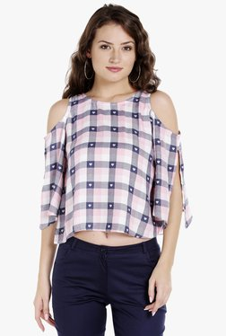 Globus Pink Checks Cold Shoulder Crop Top