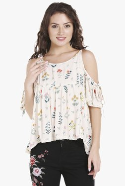 Globus Off White Printed Cold Shoulder Top