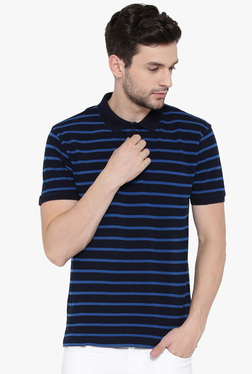 Red Tape Navy Short Sleeves Striped Polo T-Shirt