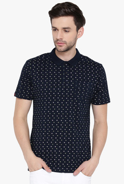 Red Tape Navy Short Sleeves Printed Polo T-Shirt