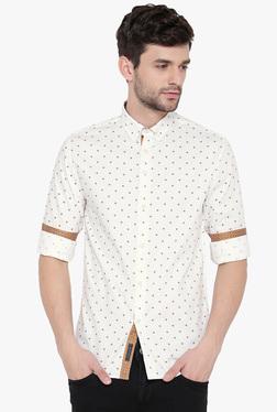 Red Tape Cream Regular Fit Button Down Collar Shirt