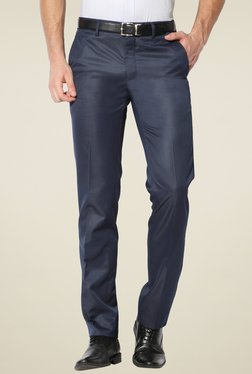 Van Heusen Stone Blue Slim Fit Flat Front Trousers