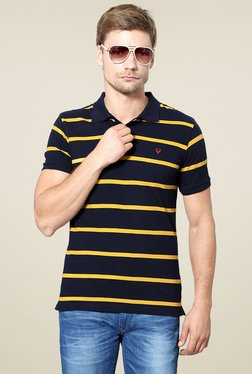 Allen Solly Navy & Yellow Half Sleeves Striped Polo T-Shirt