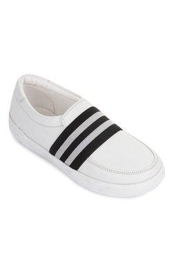 Kids White & Black Slip-Ons