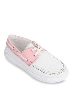 Kids White & Baby Pink Boat Shoes
